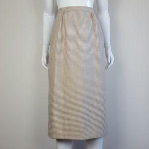 Vintage Tan Houndstooth Pencil Skirt